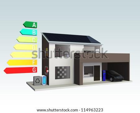 energy efficient house concept - stock photo