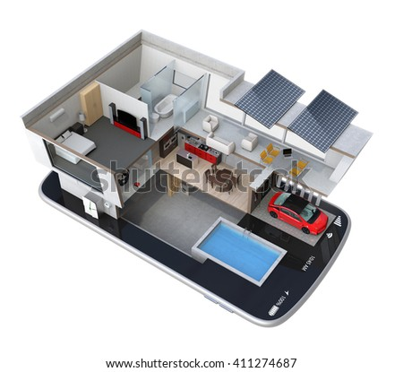 Energy-Efficient house equipped with solar panels, energy saving appliances on a smart phone.  automation home controlled by smartphone concept. 3D rendering image with clipping path. - stock photo