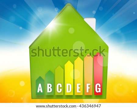 Energy Efficient House Scale Silhouette 3d illustration - stock photo