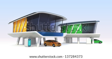 Energy efficient houses concept.  Electric vehicles, home batteries system,roof mounted solar panels.Original design. - stock photo
