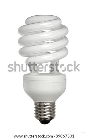energy efficient light bulb isolated on white - stock photo