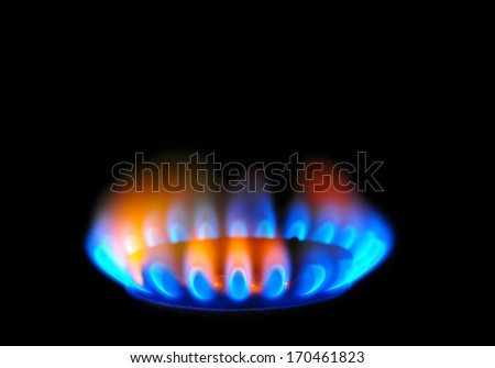 Energy, gas flame of burner. - stock photo