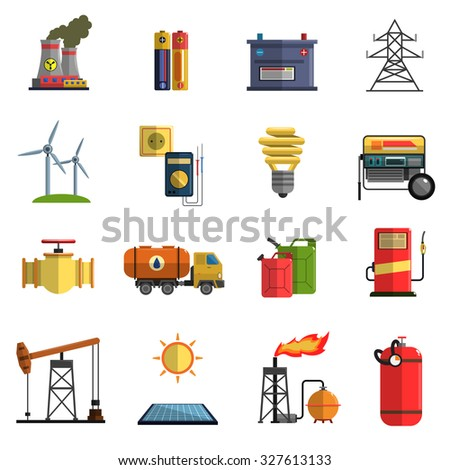 Energy generating and storing systems with high power sustainable batteries flat icons set abstract isolated  illustration - stock photo