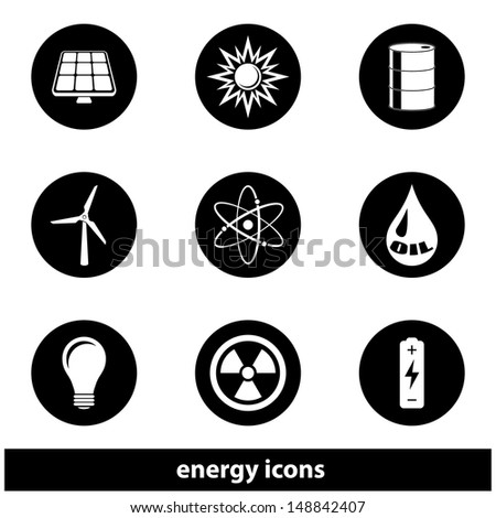 Energy Icon Set. Raster version, vector also available. - stock photo
