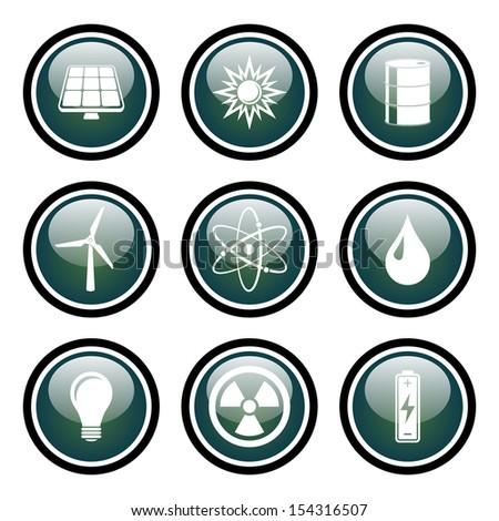 Energy Icons Glass Button Icon Set.  Raster version. - stock photo