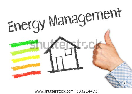 Energy Management - Energy Efficiency with House and thumb up - stock photo