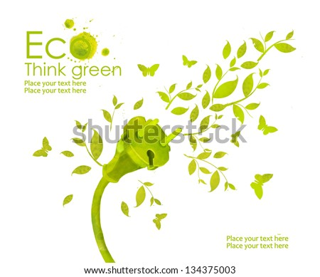 Energy plug.Illustration environmentally friendly planet. Green socket, grass, butterfly and splash of paint,from watercolor stains,isolated on a white background. Think Green. Ecology Concept. - stock photo