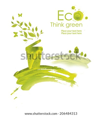 Energy plug.Illustration environmentally friendly planet. Green trash, plug, grass and splash of paint,from watercolor stains,isolated on a white background. Think Green. Ecology Concept.  - stock photo