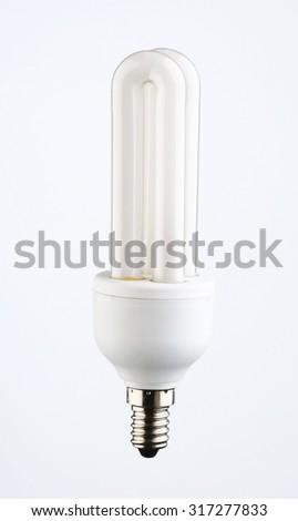 Energy saver light bulb on white background - stock photo