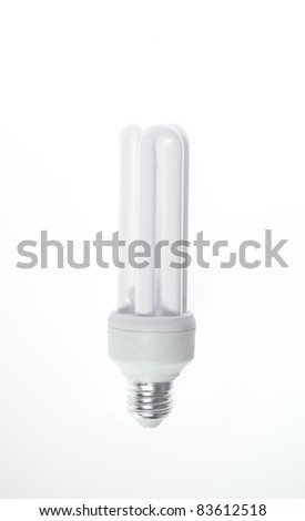 Energy saving bulb isolated on white with path - stock photo