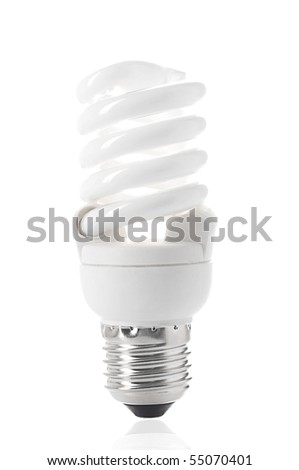 Energy saving bulb. Isolated over white. - stock photo