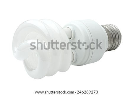 Energy saving compact fluorescent lamp. Spiral shape. Isolated on white background. Clipping path is saved. - stock photo