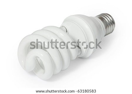 Energy saving fluorescent light bulb (CFL). Isolated on white background with clipping path. - stock photo