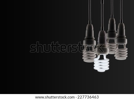 Energy saving fluorescent light bulb isolated on a black bakground - stock photo