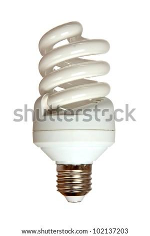 Energy saving fluorescent light bulb isolated on white background - stock photo