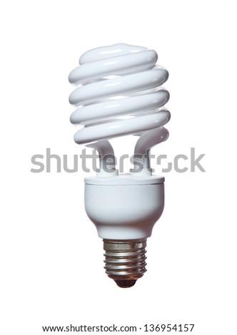 Energy saving fluorescent light bulb isolated on white bakground - stock photo