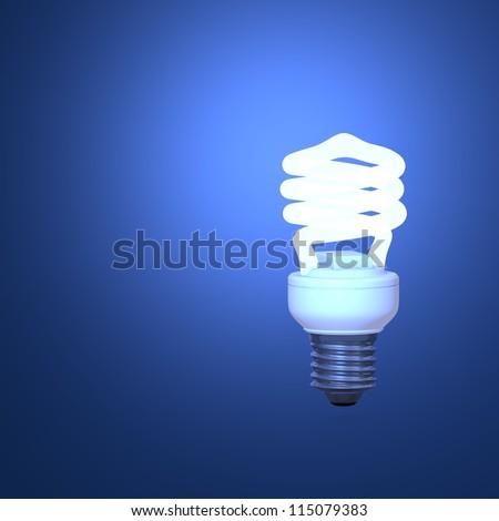Energy Saving Lamp and blue background - stock photo