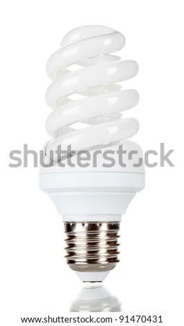 Energy saving lamp isolated on white - stock photo