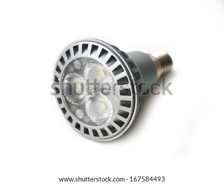 Energy saving LED light bulb on white background - stock photo