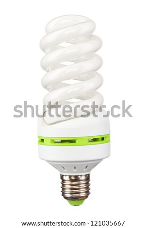 Energy saving light bulb, isolated on white - stock photo