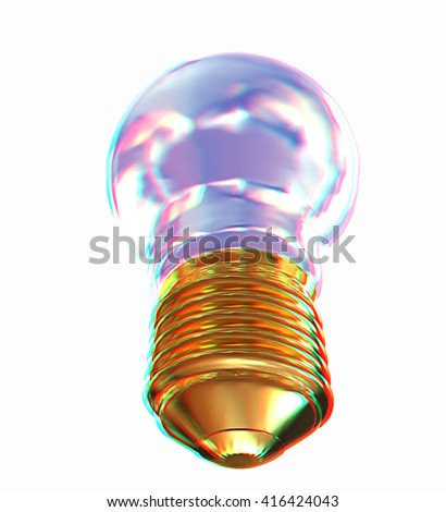 Energy saving light bulb isolated on white. 3D illustration. Anaglyph. View with red/cyan glasses to see in 3D. - stock photo