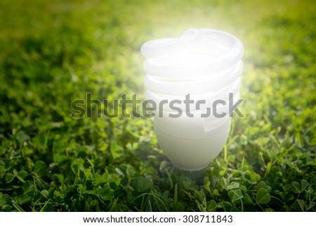 Energy saving light bulb on the grass - stock photo