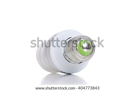 Energy saving light bulb with green line. - stock photo