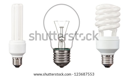 Energy saving light bulbs,  on white background - stock photo