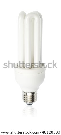 Energy saving low voltage white lamp isolated with clipping path over white background - stock photo