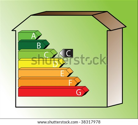energy saving scale - ratings C - with shading - stock photo