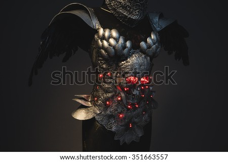Energy silver armor skull with red eyes and led lights, helmet metal filigree - stock photo