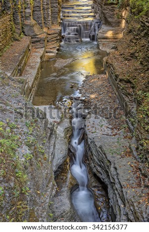 Enfield Creek Flowing Though The Robert H. Treman State Park in New York - stock photo