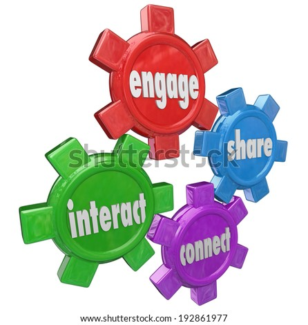 Engage, Interact, Share and Connect words on gears group networking - stock photo