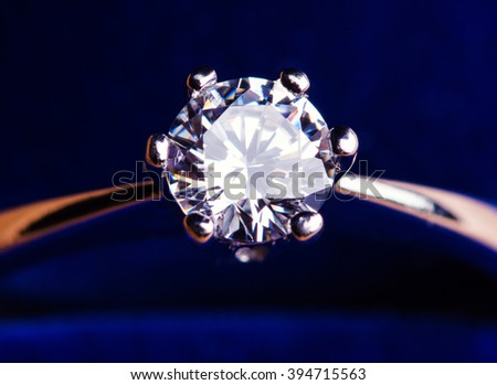 engagement diamond ring in blue box - stock photo