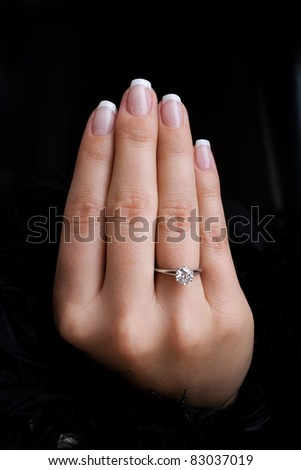 Engagement, focus placed on hand - stock photo