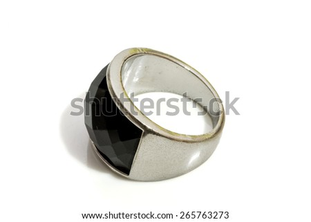 engagement ring on a white background - stock photo