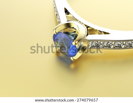 Engagement Ring with Sapphire. Jewelry background - stock photo