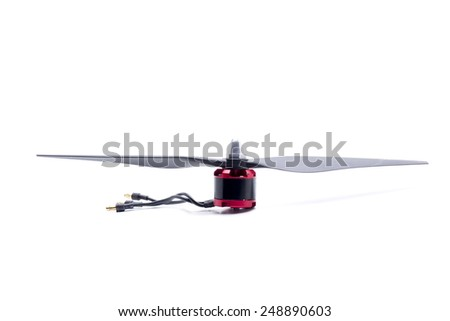 engine and propeller of a small drone - stock photo