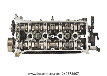Engine camshaft cap (Top View) - stock photo
