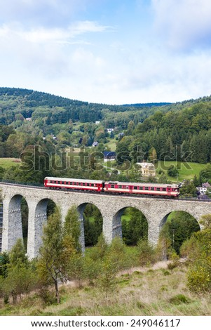 engine carriage on viaduct Novina, Krystofovo Valley, Czech Republic - stock photo