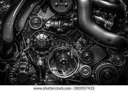 Engine.Close-up. Black and white. - stock photo