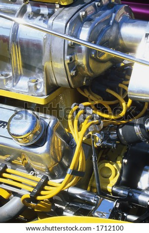 Engine detail of a customized street rod at the Street Rod Nationals in Louisville Kentucky - stock photo