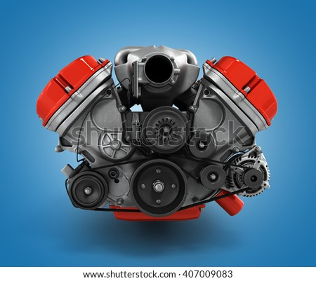 engine gearbox close up 3d render - stock photo