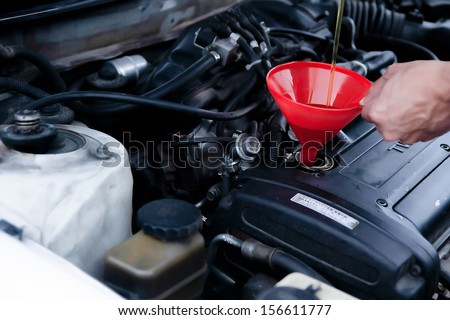 Engine Maintenance with a Cone. - stock photo