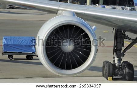 engine of passenger airplane waiting in airport at platform - stock photo