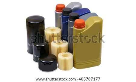 Engine oil and oil filter car - stock photo