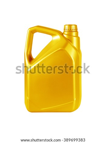 Engine oil canister isolated on white background. gold color - stock photo
