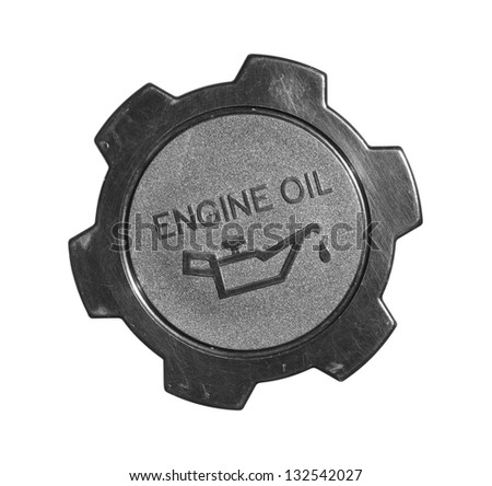 Engine oil cap with warning label isolated on white background - stock photo
