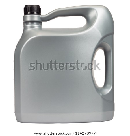 Engine oil in a typical five liter container - stock photo
