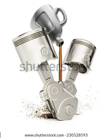 Engine pistons and motor oil isolated on white background. 3d render - stock photo